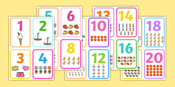 Number Picture Flashcards - number cards, count, counting aid