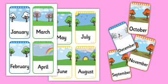 Months of the Year Flashcards - months of the year, months, year, flashcards, flash cards