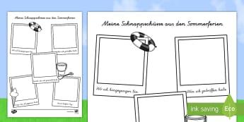 Meine Schnappschüsse aus den Sommerferien - german, transition, writing aid