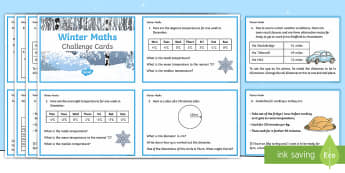 Y6 Winter Themed Maths Challenge Cards - Winter 2016/17, maths challenge cards, maths, winter maths, christmas maths, Year 6 maths, Y6 maths,