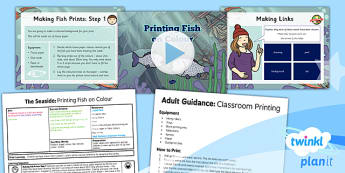 Art: The Seaside: Printing Fish on Colour UKS2 Lesson Pack 3