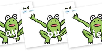 Phase 5 Phonemes on Frogs - Phonemes, phoneme, Phase 5, Phase five, Foundation, Literacy, Letters and Sounds, DfES, display
