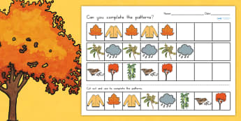 Autumn Complete the Pattern Worksheet - seasons, weather, games