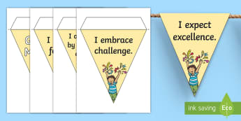 Growth Mindset Statement Display Bunting - Classroom, Motivational, Carol Dweck, positive language,display