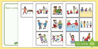 Tarjetas de clasificar: Buen comportamiento en la clase - tarjetas de clasificar, clasificar, comportarse, comportamiento, la clase, el aula, amistad, amigos,