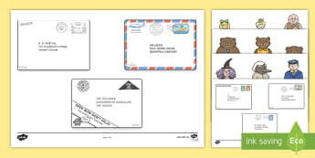Story Cut Outs to Support Teaching on The Jolly Postman - blue, postman, jolly, letter, Janet Ahlberg, Cinderella, sequencing, cut out, cut outs, cutting, story resources, story book, story, story book, book resources, Three Bears, wolf, gian, goldil