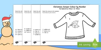 Christmas Jumper Colour by Number English/Afrikaans  - December, celebrate, pencils, crayons, Desember, fees, EAL