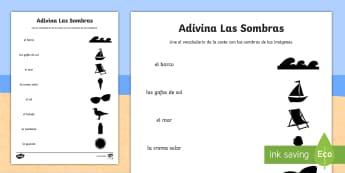 Seaside Topic Shadows Activity Sheet - Spanish  - Seaside, Coast, Summer, Holidays, Beach, Sea, Topic, Spanish, KS2, shadows, activity, sheet, workshe