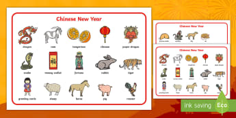 Chinese New Year Word Mat - Chinese new year, word mat, writing aid, topic words, China, lantern, dragon, chopsticks, noodles, year of the rabbit, ox, snake, fortune cookie, pig, money wallet
