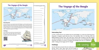 Voyage of the Beagle Activity Sheet - Heritage Day, Cape Town, Voyage of the beagle, explorers, report writing, history, famous people in