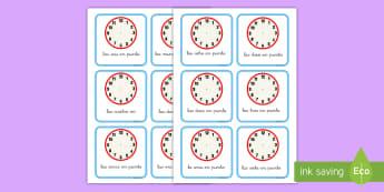 Tarjetas de trivial: Escribir la hora - hora, tiempo, la hora, reloj, relojes, analógicos, en punto, hora en punto, dibujar, dibuja, tarjet