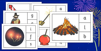 Bonfire Night Initial Sounds Peg Activity - bonfire night, initial sounds, peg, activity