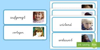Emotionen und Gefühle Fotos Wortschatz: Wort- und Bildkarten - Fotokarten, Fotos, Gefühle zeigen, Gefühle ausdrücken, Emotionen zeigen,,German
