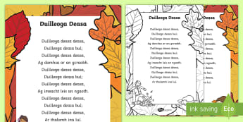 Duilleoga Deasa (Nice Leaves) Poem - ROI Harvest,Irish