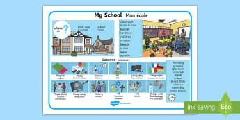 My School Word Mat - English/French - My School Word Mat - my school, word mat, word, mat, school, wordmat, EAL French,French-translation