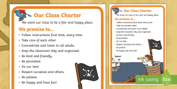 Class Charter Pirate-Themed Display Poster - Class, Charter, Pirate,Themed, Display, Poster, rules, new term, transition, 1st day back, class swa