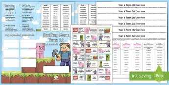 Year 6 Block Adventurer Spelling Menu Pack -  spag, gps, home learning, weekly, lists, test,