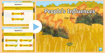 People's Influences PowerPoint Pop Quiz - ACHASSK112, Year 5, AC, Geography, formative assessment, prior knowledge,Australia