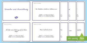 Leseverständnis üben Ursache und Auswirkung : DIN A4 Karteikarten - Lesen, Leseverstehen, Wirkung, Schlüsse ziehen, Lektüre, ,German
