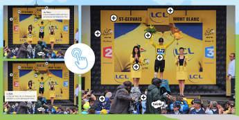 Image à zones interactives : Le Tour de France - Lecture, lire, cyclisme, vélo, course, cycle 2, cycle 3, reading