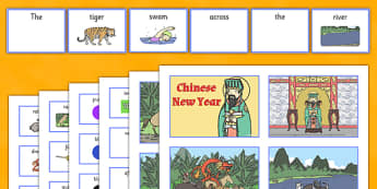 Chinese New Year Story Pictures with Matching Sentence Building Cards - sentence building, sentence construction, sentence structure