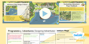 PlanIt D&T Upper KS2 - Programming Adventures Lesson Pack Designing Adventures - Lesson 2  - Adventure, maps, obstacles, squares, background, start, finish, bee bot, Generate develop model and