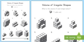 Volume of Irregular Shapes Activity Sheet - volume, irregular shapes, length, width, height, cube, cubic, worksheet