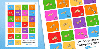Large British Sign Language Fingerspelling Alphabet Poster - sign