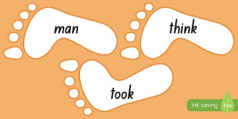 New Zealand Orange Sight Words on Footprints Display Cut-Outs