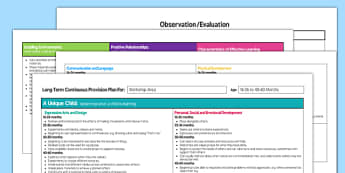 EYFS Workshop Area Editable Continuous Provision Plan 16-26 to 40-60 Months