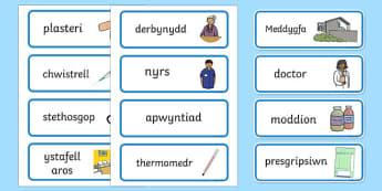 Doctor's Surgery Labels Welsh - welsh, cymraeg, Doctors surgery role play, doctor, nurse, surgery, role play, doctors role play, people who help us role play, people who help us, Display signs, display, labels