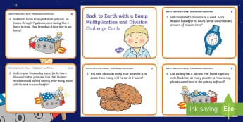 KS1 Back to Earth with a Bump Multiplication and Division Differentiated Math Challenge Cards -  - Back to Earth with a Bump, space, planets, night and day, dark, sun, Mars, moon, stories, picture bo