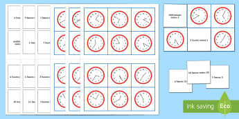 Mixed Time Bingo French - KS3, French, Time,clock, hour, heure,French