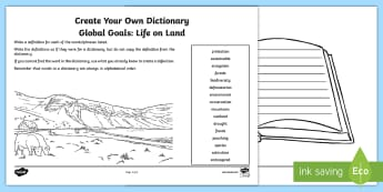 Global Goals: Life on Land Create Your Own Dictionary Activity - Define, definition, alphabetical, reading for information, keywords, global issues, citizenship,Scot