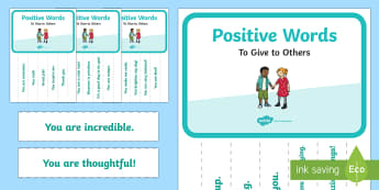 Positive Words Tear Off Display Poster  - Classroom Management and Organization, school family, encouragement, positive, mental health, safe s