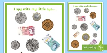 Money I Spy Activity  - money, value, coins, banknotes, worth
