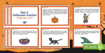 Year 5 Halloween Fractions Maths Challenge Cards
