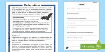 Fledermäuse Leseverstehen Arbeitsblätter - Lesen, Üben, Tiere, Säugetiere, Waldtiere, Leseverständnis, ,German