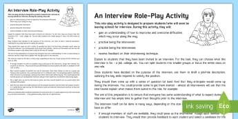 An Interview Role-Play Teaching Ideas - young people, PSHCE, jobs, applications, interviews, leaving school, world of work