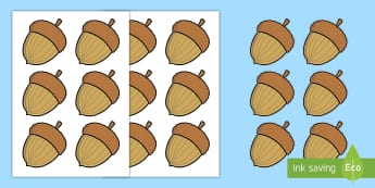 20 Acorn Cut-Outs - 20, counting, addition, adding, subtracting, subtraction, autumn, winter, nuts, acorns, animals, squ
