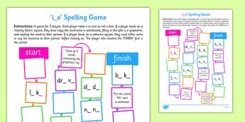 i-e Spelling Board Game