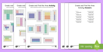 Create and Find the Area Differentiated Activity Sheets - tiling, addition, area, multiplication, measurement