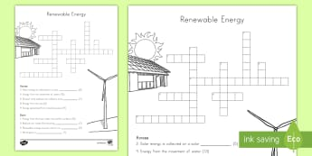 Renewable Resources Crossword - Earth Science, Renewable Energy, Fossil Fuels, Natural Resources, Solar Energy, Geothermal, Energy,