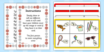 Toy Shop Bingo - Money, coins, pounds, pence, foundation numeracy, coin, pay, bingo, shop, addition, prices, price