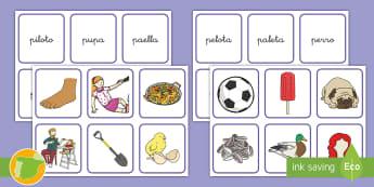 Tarjetas de emparejar: La P - lecto, leer, lectura, sonidos, letra , lecto-escritura, fonemas, sonidos, consonantes, letra p, fone