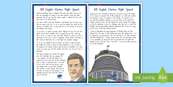 Bill English Election Night Speech Display Poster - New Zealand, 2017 Elections, Government, National, Greens, Labour, New Zealand First, Parliament, Ma