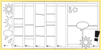 Blank Comic Book Templates - comic, comic books, writing template, literacy, writing, comic