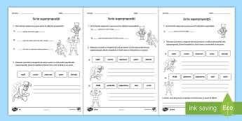 Scrie superpropoziții Fișe pentru activitate diferențiată - compune propoziții, formulează propoziții, română, scriere, activități,Romanian