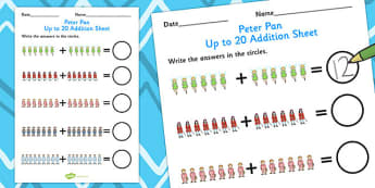 Peter Pan Up to 20 Addition Sheet - numeracy, worksheets, add