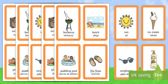Summer Matching Cards English/Spanish - Summer Pairs Matching Game - games, activities, activity, pair, summertime, Timw, mathching, EAL, En